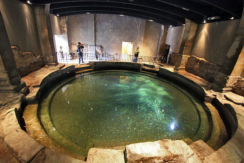 Sacred springs at the historic Roman Baths in Bath, England