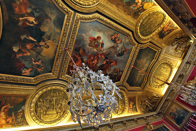 One of the exquisite ceilings in Versailles Palace, near Paris, France