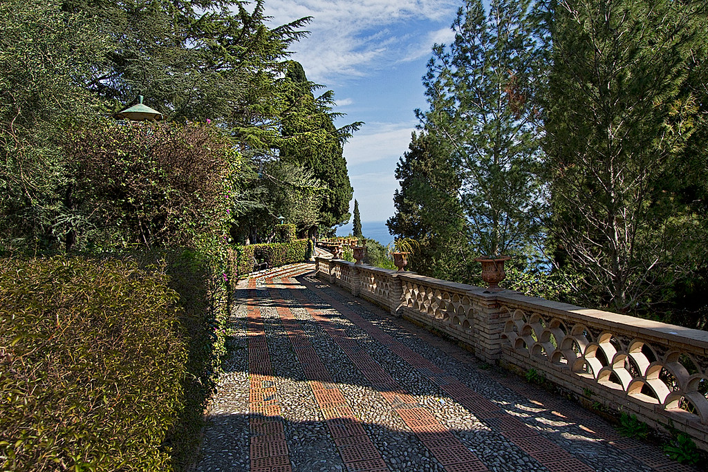 Seaside walkway in the Public Gardens of Taormina, Sicily