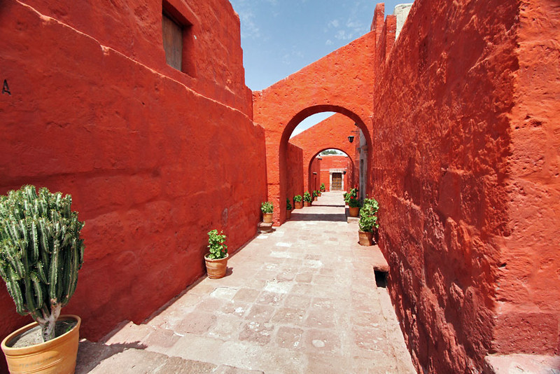 Brilliant colors adorn the walls of Santa Catalina Monastery in Arequipa, Peru