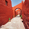Brilliant colors adorn the walls of Santa Catalina Monastery in Arequipa, Peru