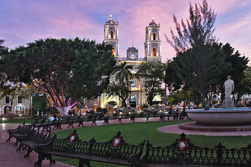 Cathedral of San Servacio in Valladolid, in the center of the Yucatan peninsula, Mexico