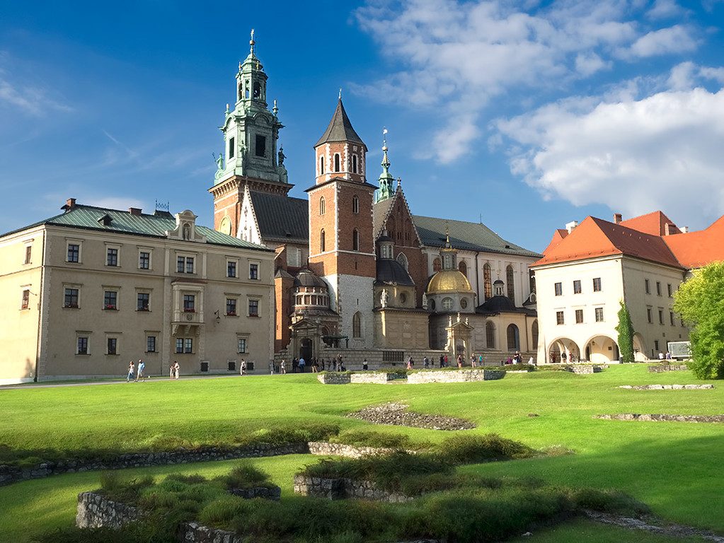 Wawel Cathedral in Krakow, Poland, with Wawel Castle at right