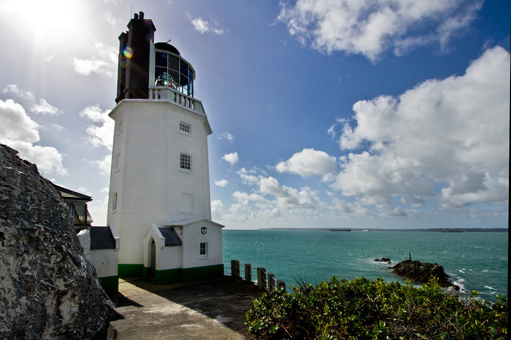 Lighthouse at St. Anthony's Head, across the bay from pretty St. Mawes in Cornwall, England