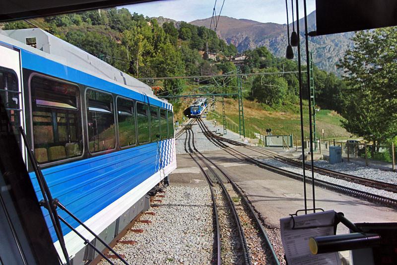 Cog wheel railroad ascends to Vall de Nuria, a nature sanctuary in Catalonia, Spain