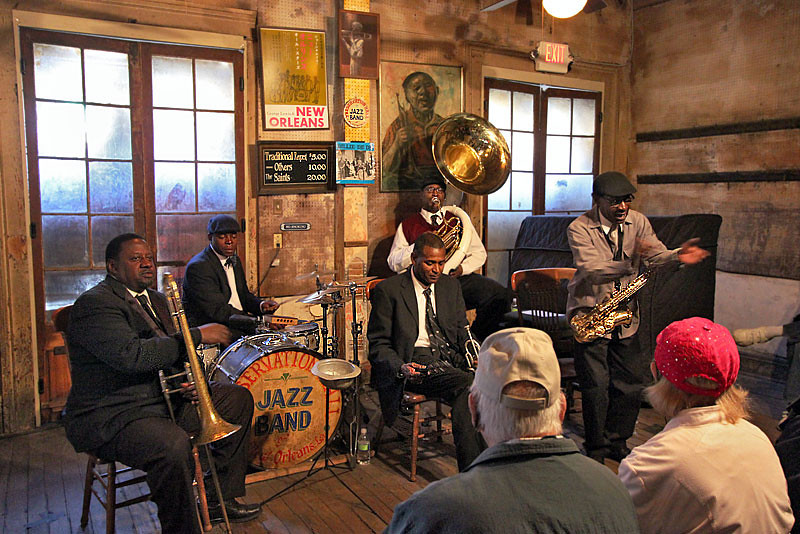 Jazz performance at New Orleans' famous Preservation Hall