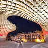 "Metropol Parasol, commonly called ""The Mushroom,"" offers great night views of Seville, Spain"