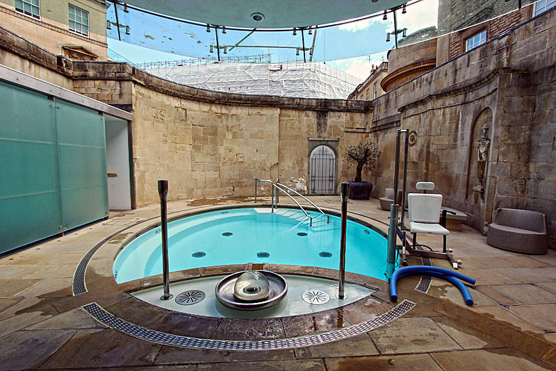 Hot spring waters from deep below the earth are piped directly into Cross Bath at Thermae Bath Spa in Bath, England