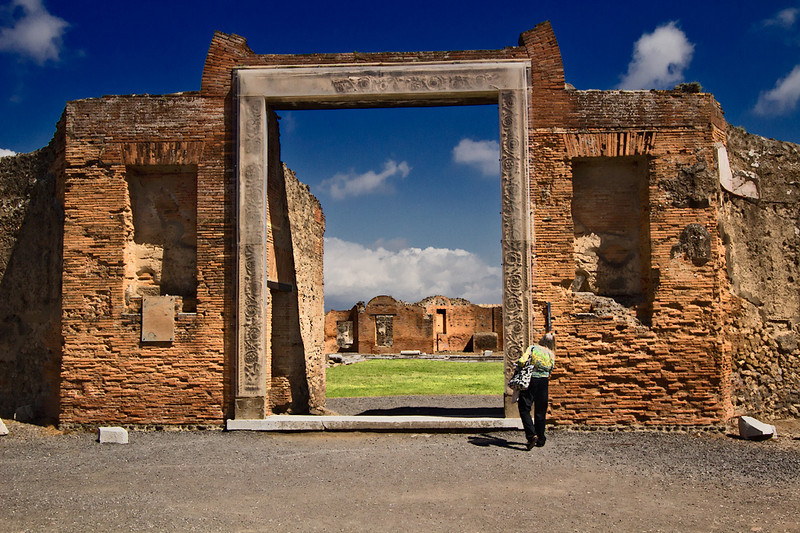 The Temple of Vespasian in Pompeii was dedicated to the Emperor Vespasian, and residents of the city were expected to worship and make sacrifices to him. Elaborate carvings that frame the entrance have been protected by plexiglass.