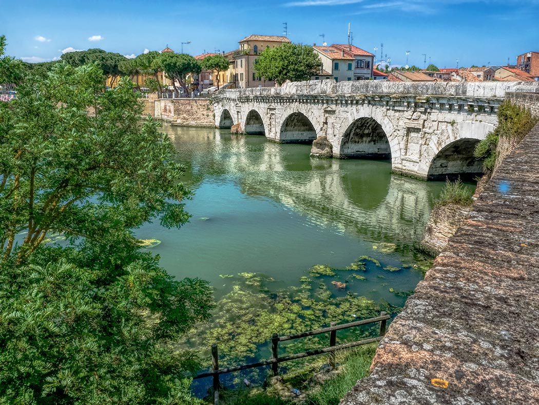 Construction on Il Ponte di Tiberio (Tiberius Bridge) in Rimini, Italy, was begun in A.D. 14, during the reign of Roman Emperor Augustus. However, by the time it was completed in A.D. 21, Tiberius was Emperor, thus its name.