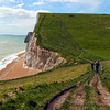 Immense white chalk cliffs along the South Coast Path in County Dorset, England