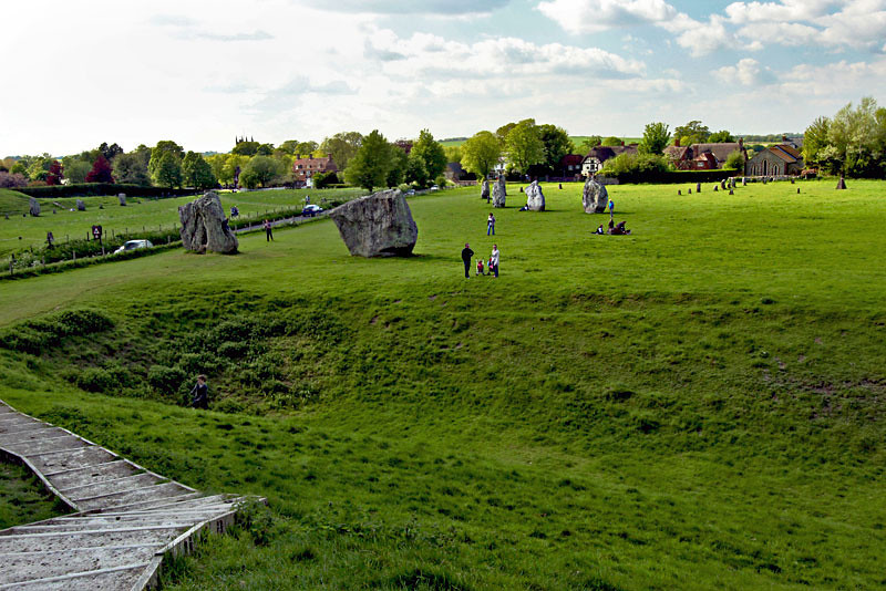 Just a few of the standing stones at Avebury Henge in Wiltshire County, England