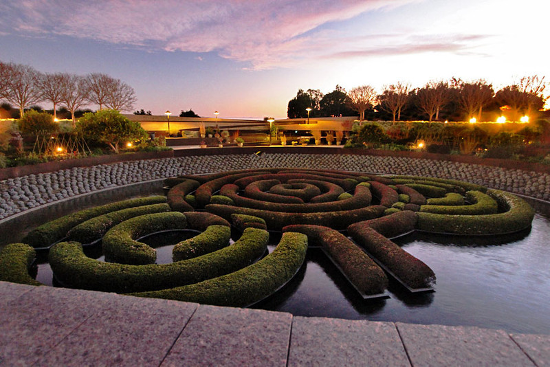 Hedge maze glows at sunset at the Getty Museum in Los Angeles