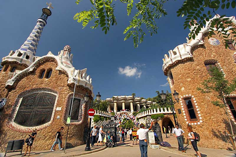 PHOTO: Entrance to Guell Park in Barcelona, Spain Displays Myriad Artworks by Antoni Gaudi