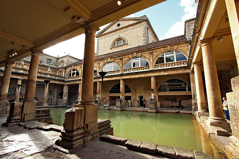 The Great Bath at the historic Roman Baths in Bath, England