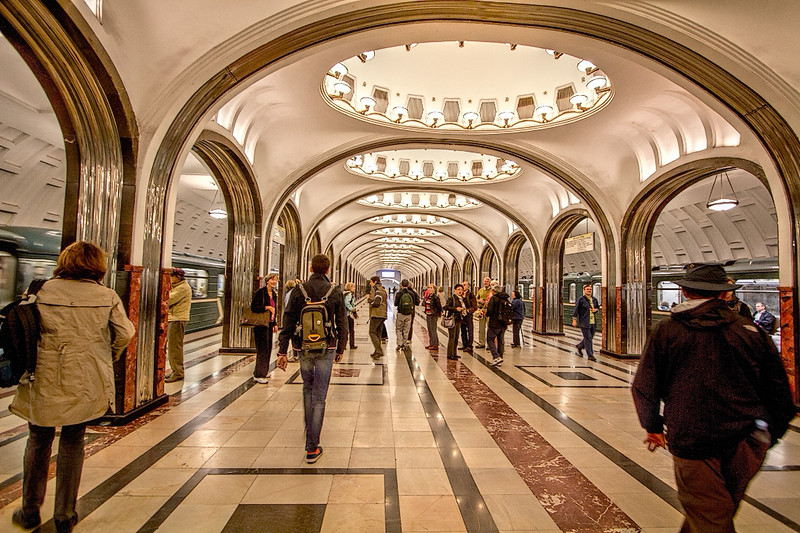 Metro stations in Moscow feature a variety of fine art, like the mosaic scenes of sports found in the top of each illuminated dome in this station