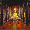 Monks chant at Wat Phan Tao in the old walled city of Chiang Mai, Thailand