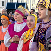 Traditional Russian Dancers wait to perform at the FEELRUSSIA Festival of Russian Culture in Tallinn, Estonia