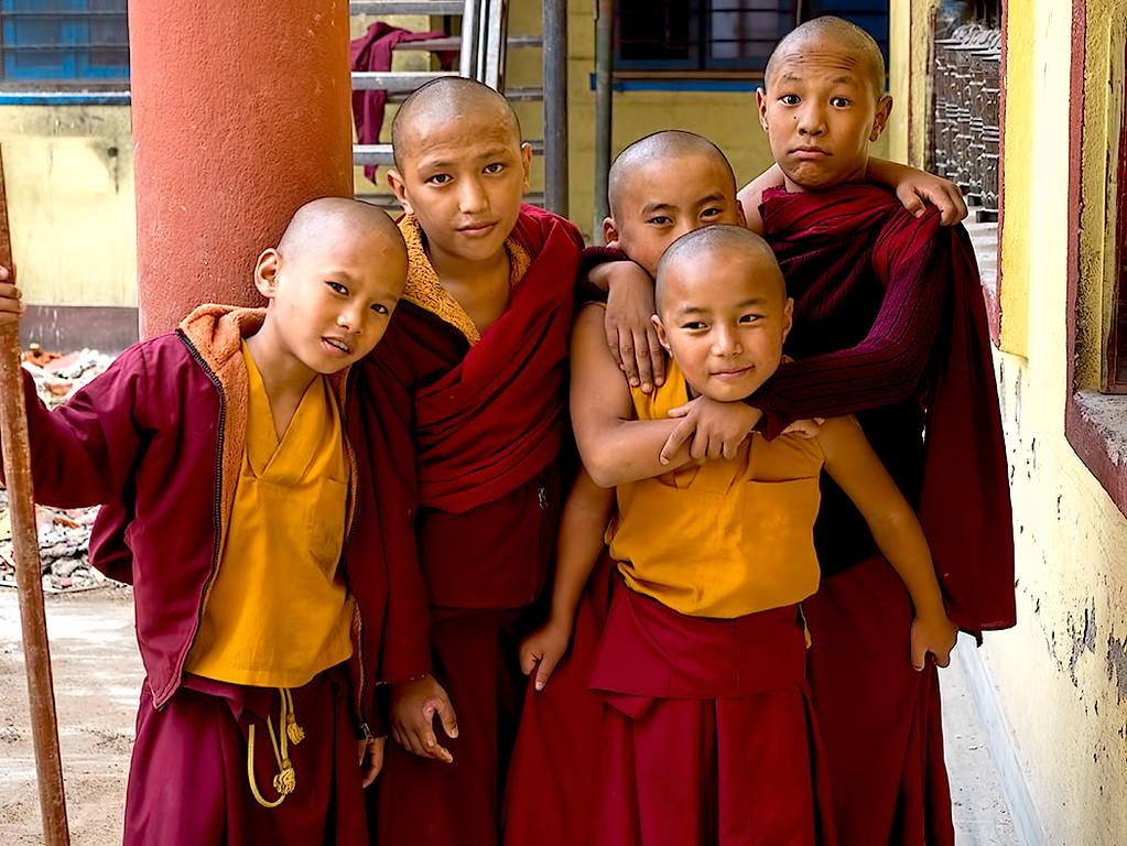 Novice monks at the Sakya Tharig Monastery near the UNESCO World Heitage Boudhanath Stupa in Kathmandu, Nepal