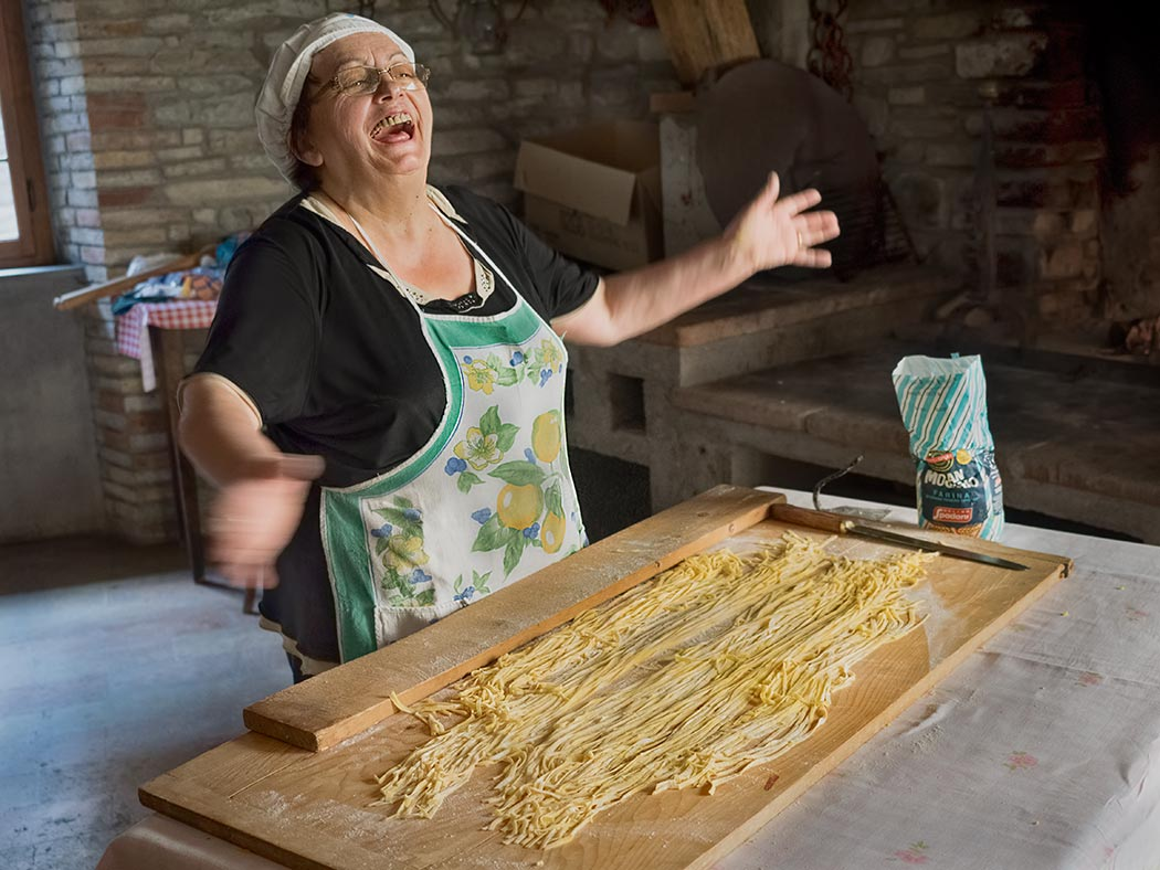 My Italian experience in Le Marche, Italy, included lessons on how to make Tagliatelle pasta from scratch at the magnificent 16th century Palazzo Donati