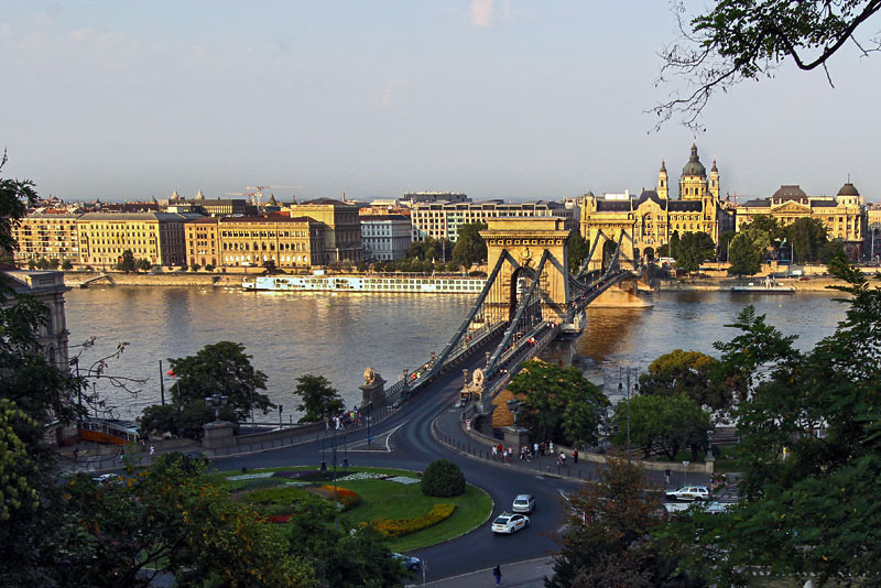 Szechenyi Chain Bridge in Budapest, Hungary, seen from the hills of the Buda side of town