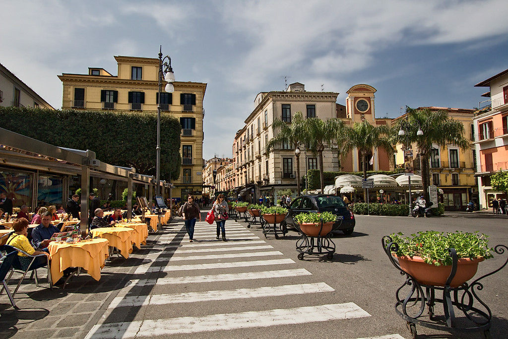 Alfresco dining on pretty Piazza Tasso in the center of Sorrento, Italy