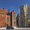 Lambeth Palace (left), the official residence of the Archbishop of Canterbury in England and St. Mary at Lambeth Church (right)
