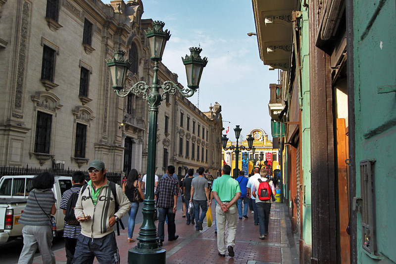 Colonial architecture and ornate street lamps in historic center of Lima, Peru