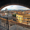 View toward the mountains from a watchtower on the old Roman wall in Girona, Spain