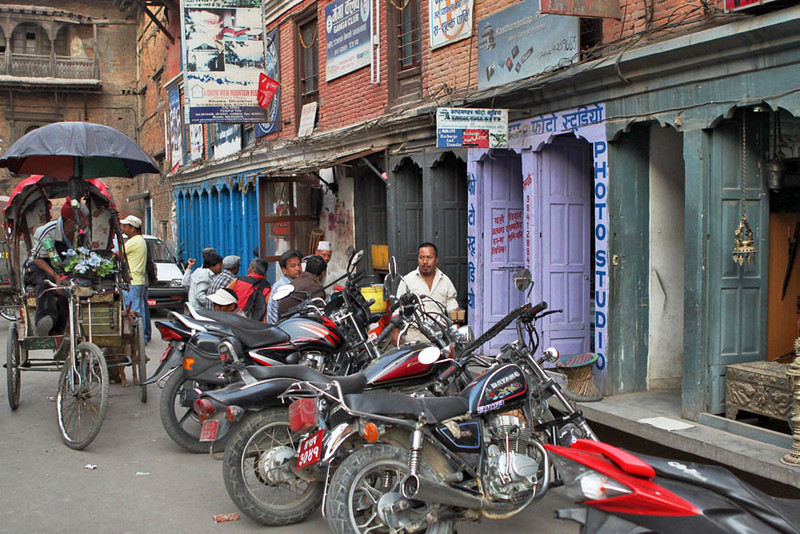 Multi-colored storefronts in the Thamel area of Kathmandu, Nepal