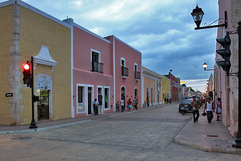 Typical street in Valladolid, Yucatan peninsula, Mexico