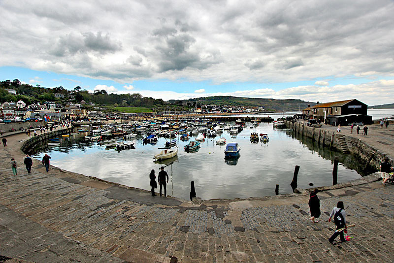 Precious stone harbor at  Lyme Regis, England, on the southwest coast in County Dorset