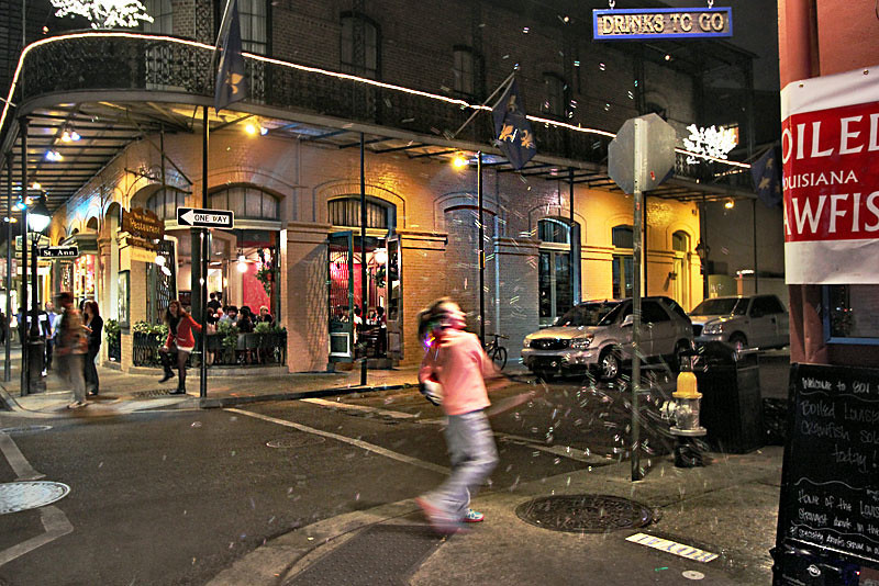 Bubbles fill the air on Bourbon Street in New Orleans