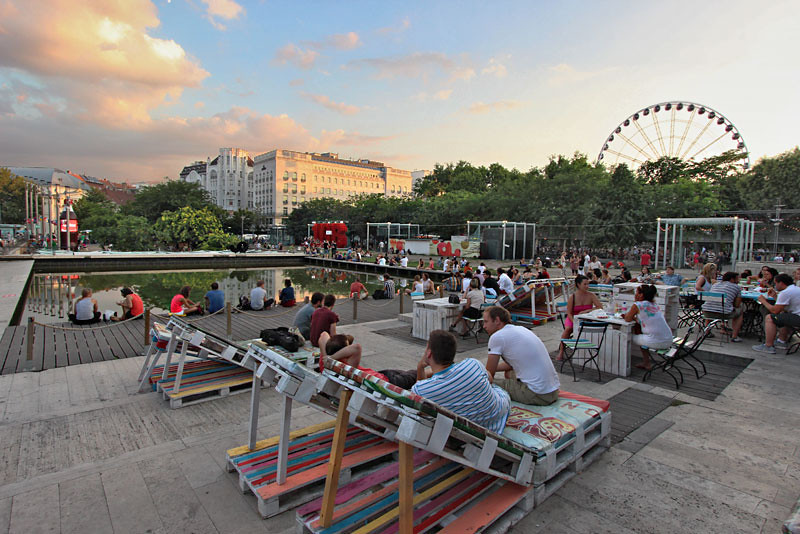 Erzsebet (Elizabeth) Square is the most popular entertainment spot in Budapest, Hungary