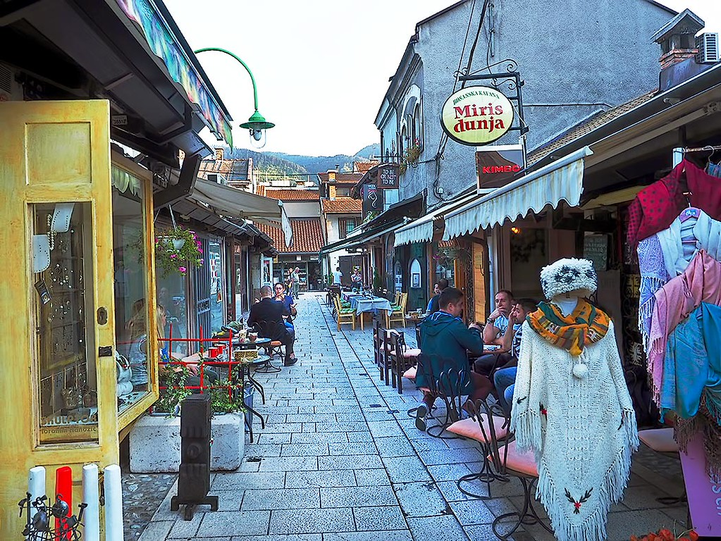 Typical street in the old Turkish Bazaar in Sarajevo, Bosnia-Herzegovina. Miris Dunja became my preferred place to have coffee or tea each day, along with dessert. Bosnians take numerous breaks each day to have tiny cups of strong but delicious coffee.