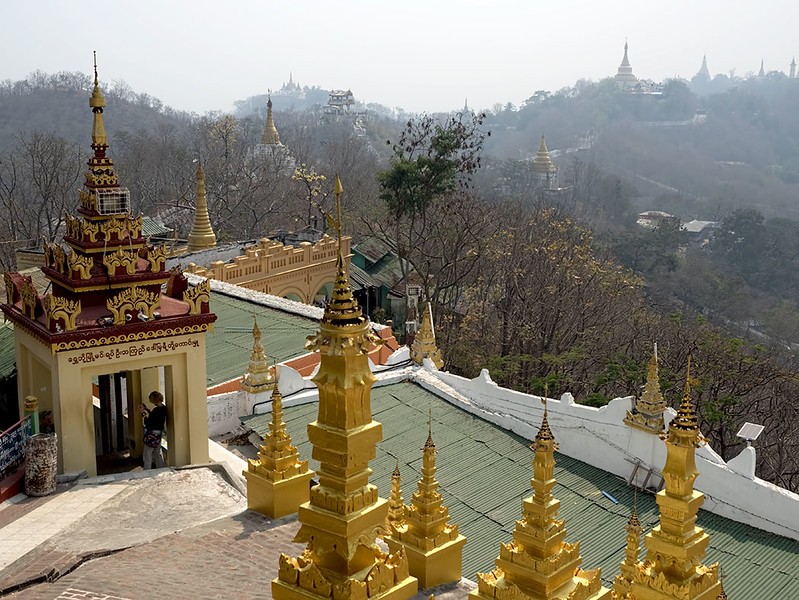 View from U Min Thonze Cave Pagoda on Sagaing Hill, on the opposite side of the Irrawaddy River from Mandalay, Myanmar
