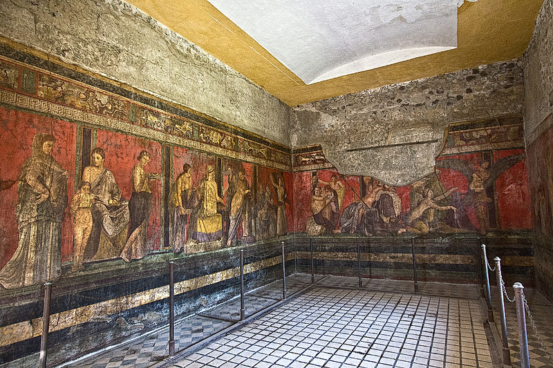 Frescoes in the Villa dei Misteri at Pompeii are among the most notable that survived the eruption of Mount Vesuvius in 79 AD. Though their purpose has been hotly debated, informational literature provided at Pompeii stated that they were likely used to instruct young women about to be married.