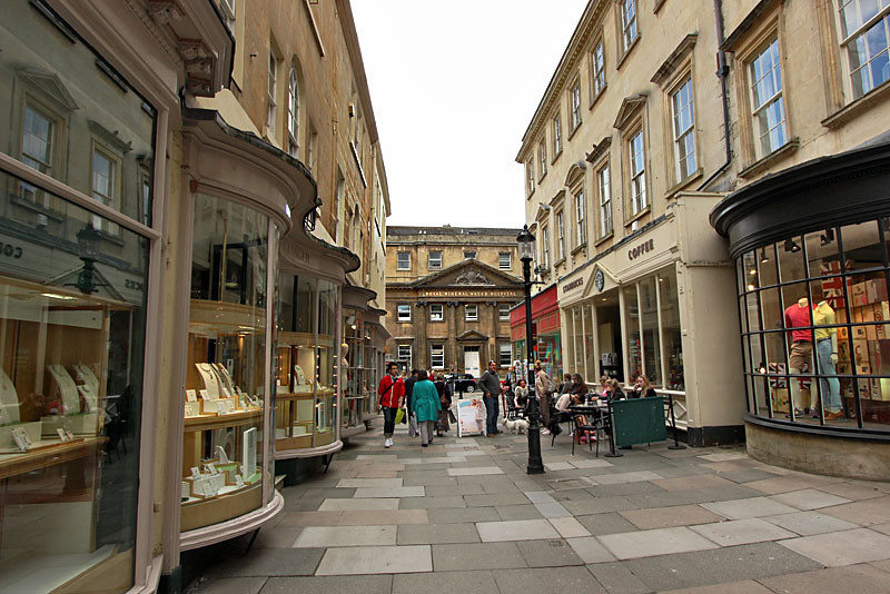 Shopping street in Bath, England, home to gorgeous Georgian and Tudor architecture