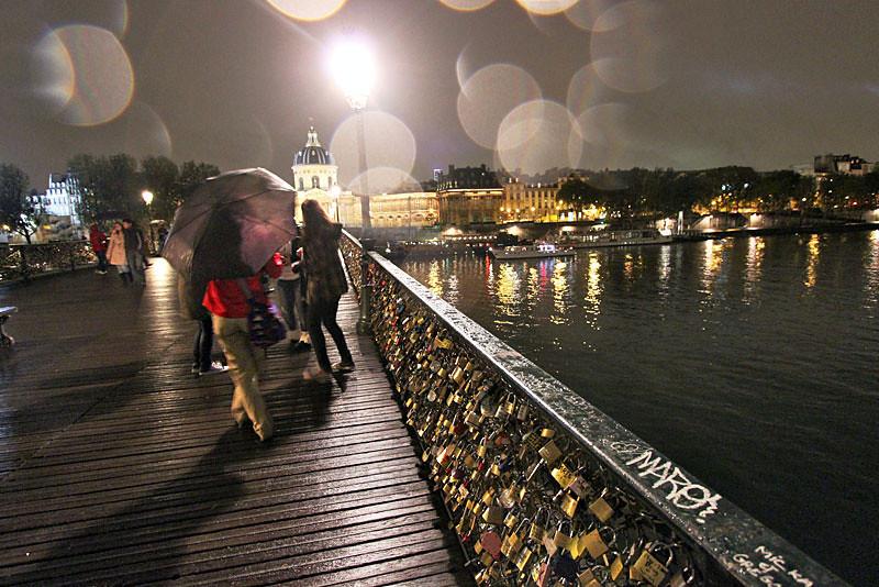 Love Locks left on the Pont des Arts Bridge, Paris, France