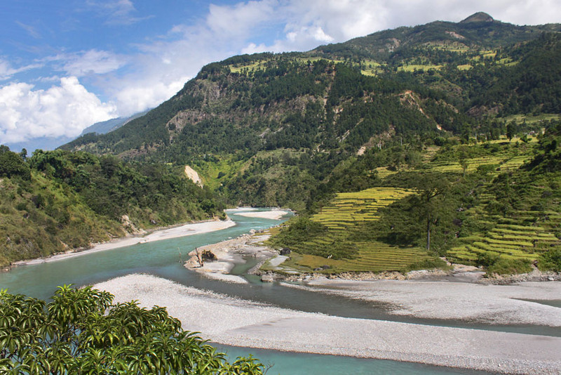 River valley on the route to Besisahar, Nepal