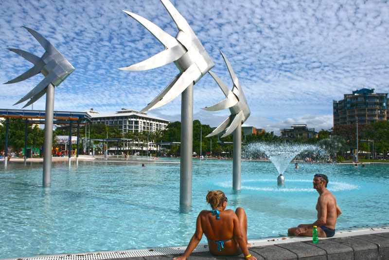 Lacking decent beaches, the town of Cairns, Australia, has built an enormous waterfront pool