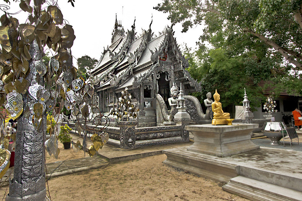 Ordination Hall at Wat Srisuphan in Chiang Mai drips with hammered aluminum and silver