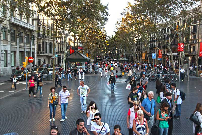 Day and night in Barcelona, Spain, La Rambla is crowded with pedestrian traffic
