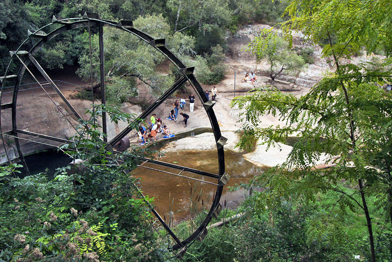 Pools and old waterwheel at Font de la Torre Gorge, Canet d'Adri, Catalonia, Spain