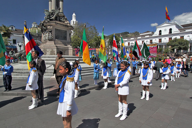 Celebration in Plaza Grande in Old Town, Quito