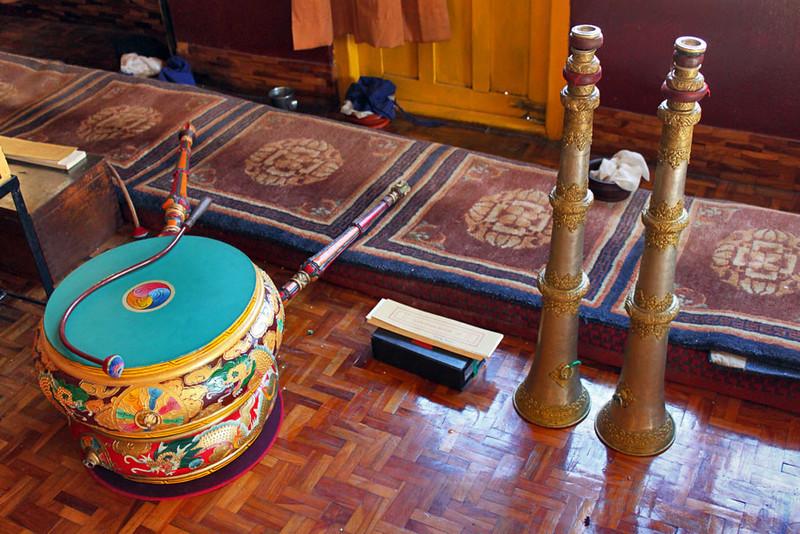 Musical instruments at Dhargayling Monastery in Tashiling Tibetan Refugee Settlement, Pokhara, Nepal