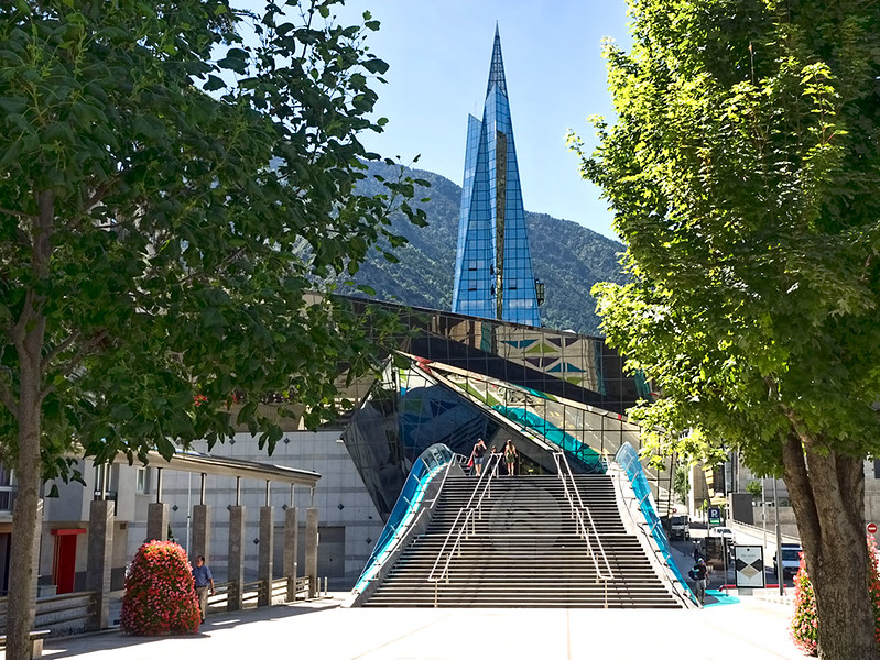 Glass spire of the Caldea Spa in Escaldes-Engordany, Andorra, dominates the city skyline