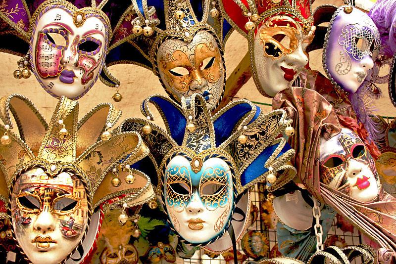 Drama masks displayed on the Rialto Bridge in Venice, Italy