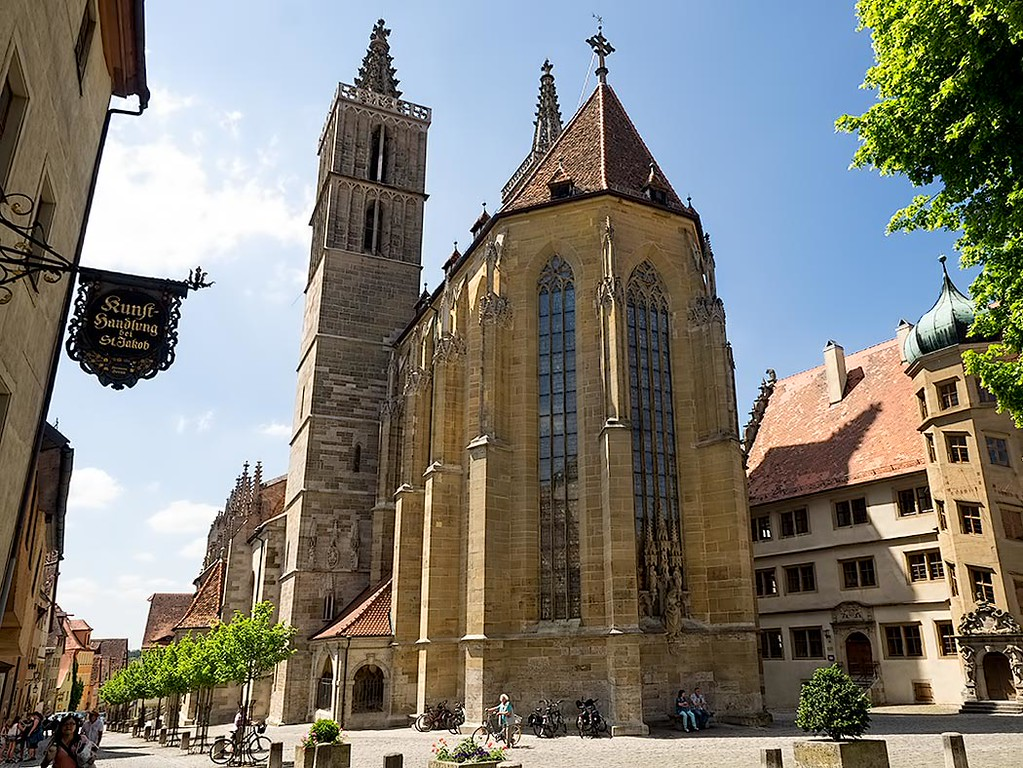St. James' Church in Rothenburg ob der Tauber, in the Franconia region of Bavaria, Germany, is on the pilgrimage route to St. James Church in Santiago de Compostela, Spain