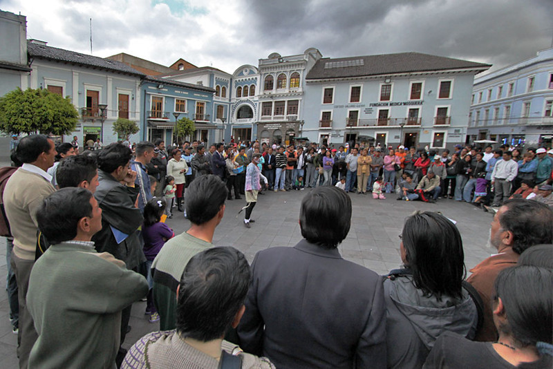 Street performer in Plaza Sucre, Old Town, Quito
